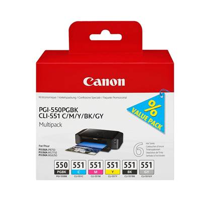 Canon Μελάνι Inkjet PGI-550/CLI-551 (PGBK/C/M/Y/BK/GY) (6496B005)