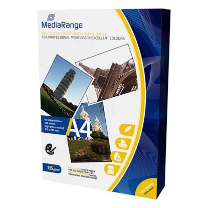 Φωτογραφικό Χαρτί MediaRange για Inkjet Εκτυπωτές Α4 High-Glossy 135g/m²  100 Φύλλα