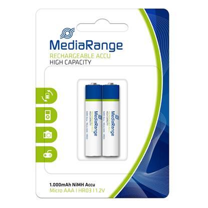 Επαναφορτιζόμενη Μπαταρία MediaRange High Cap. NiMH Accus AAA 1.2V (HR03) (2 Pack)