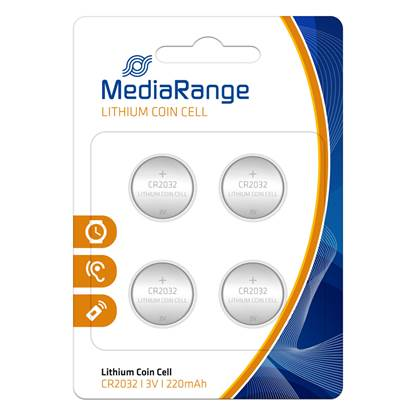 Μπαταρία Λιθίου MediaRange Coin Cells CR2032 3V (4 Pack)