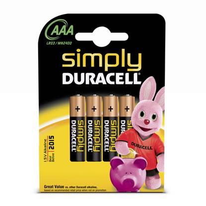 Αλκαλική Μπαταρία Duracell Simply AAA 1.5V (LR3) (4 Pack)