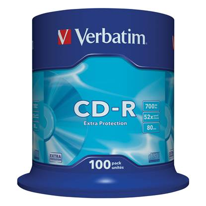 Verbatim CD-R 80' Extra Protection 700MB 52x Cake Box x100 (43411)