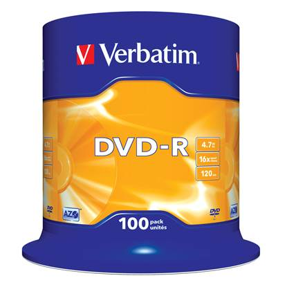 Verbatim DVD-R 120' 4.7GB 16x Cake Box x100 (43549)