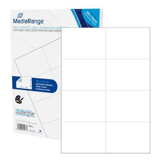 MediaRange Ετικέτες Γενικής Χρήσης 105x74mm. Λευκές (400 Pack)