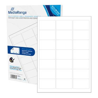MediaRange Ετικέτες Γενικής Χρήσης 63.5χ38.1mm. Λευκές (1.050 Pack)