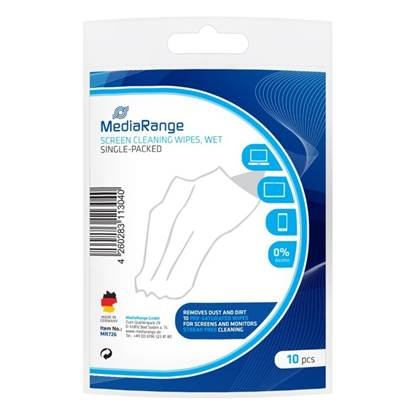 MediaRange Screen Cleaning Wipes Wet Single Packed (10)