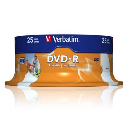 Verbatim DVD-R 120' 4.7GB 16x Cake Box x25 (Printable) (43538)