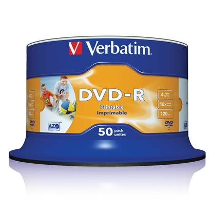 Verbatim DVD-R 120' 4.7GB 16x Cake Box x50 (Printable) (43533)