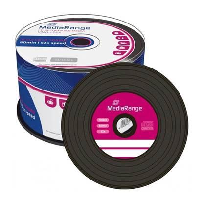MediaRange Vinyl CD-R 80' 700MB 52x Black dye Pack x 50 (MR225)