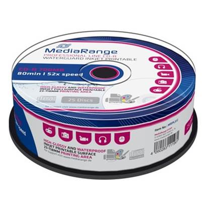 MediaRange CD-R 80' 700MB 52x Inkjet fullsurf. print., Waterguard white, High-glossy, Waterproof, Wide Sput. (MRPL512)