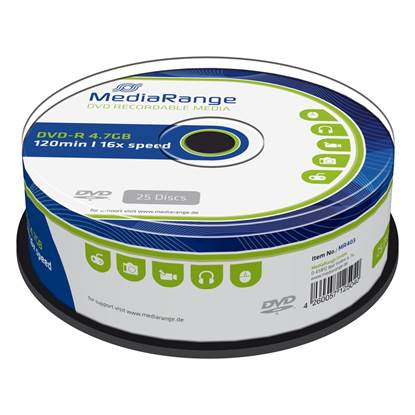 MediaRange DVD-R 120' 4.7GB 16x Cake Box x 25 (MR403)