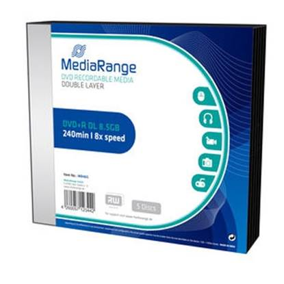 MediaRange DVD+R Dual Layer 240' 8.5GB 8x Slimcase Pack x 5 (MR465)