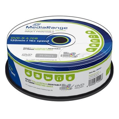 MediaRange DVD-R 120' 4.7GB 16x Cake Box x 25 Inkjet fullsurface printable (MR407)