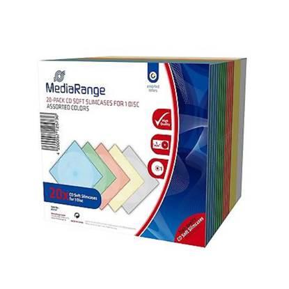 MediaRange CD Soft Slimcase for 1 Disc 5.0mm Assorted Colours (20 Pack)