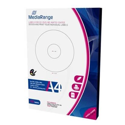 MediaRange Labels for CD/DVD/BD 41-118mm Matte (100 Pack)