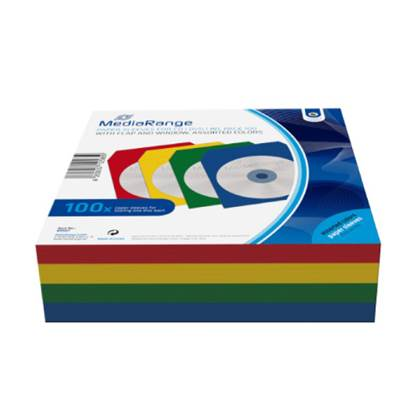 MediaRange Paper Sleeves for 1 Disc Assorted Colours 100 Pack