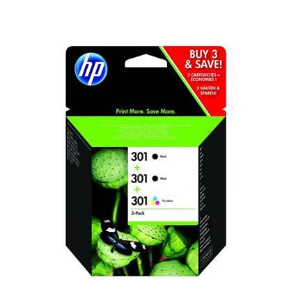 HP Μελάνι Inkjet No.301 3-Pack Black(2)/Tri-colour (1) (E5Y87EE)