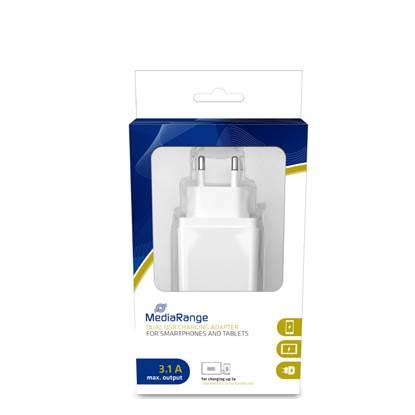 MediaRange Φορτιστής τοίχου 3.1A Dual USB output (Λευκό)