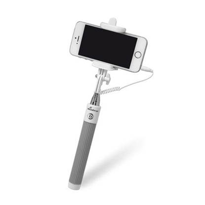 MediaRange Universal Selfie-Stick for Smartphones, with cable, White/Grey (MRMA204)