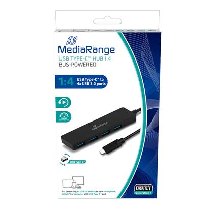 MediaRange USB Type-C™ to USB 3.0 hub 1:4, bus-powered, black  (MRCS508)