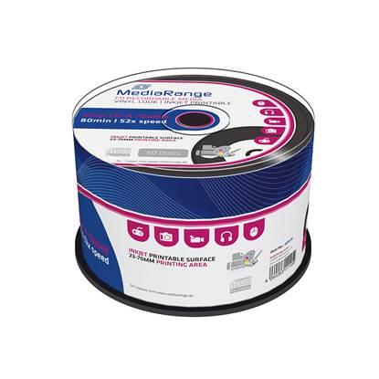 MediaRange Vinyl CD-R 80' 700MB 52x Inkjet Printable, Black dye Cake x 50 (MR226)