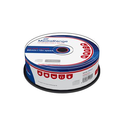 MediaRange CD-RW 80' 700MB 12x Cake Box x 25 (MR235-25)