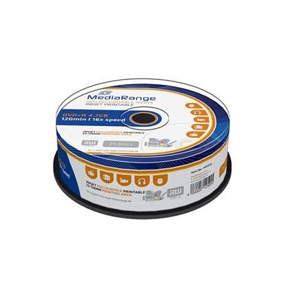 MediaRange DVD+R 120' 4.7GB 16x Inkjet Fullsurface Printable Cake Box x 25 (MR408)