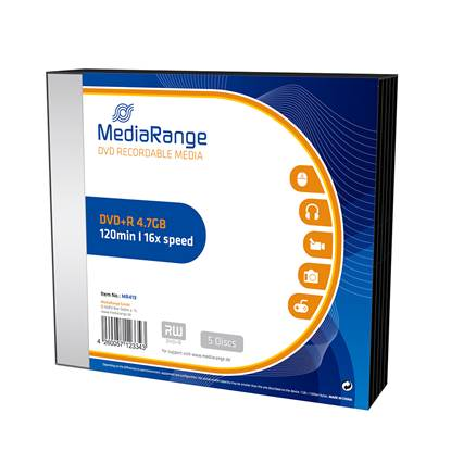 MediaRange DVD-R 120' 4.7GB 16x Slim Case x 5 (MR419)