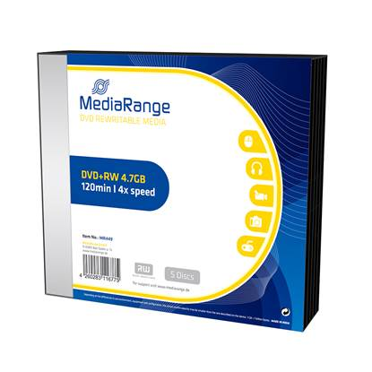 MediaRange DVD+RW 120' 4.7GB 4x Rewritable Slim Case x 5 (MR449)