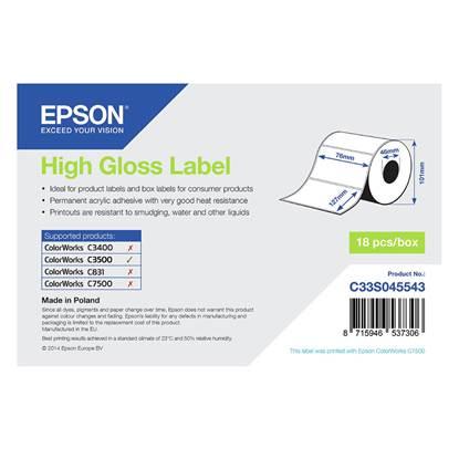 Ετικέτες EPSON High Gloss Label - Die-cut Roll 76mm x 127m (C33S045543) (EPSS045543)