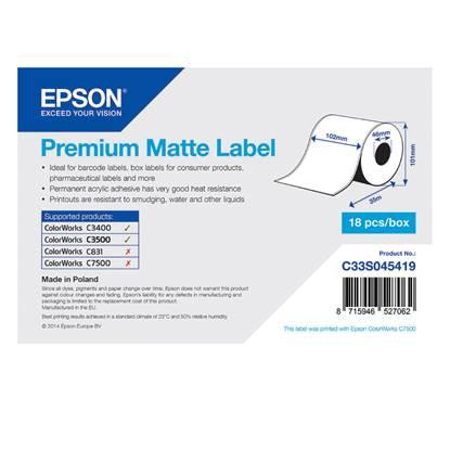 Ετικέτες EPSON Premium Matte Ticket - Continuous Roll 102mm x 35m (C33S045419) (EPSS045419)