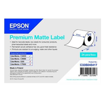 Ετικέτες EPSON Premium Matte Ticket - Continuous Roll 51mm x 35m (C33S045417) (EPSS045417)