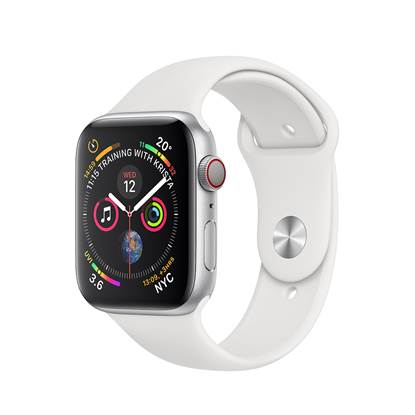 Apple Watch Series 4 GPS 44mm Silver Aluminium Case with Sport Band - White EU