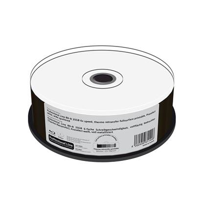 MediaRange Professional Line BD-R 25GB 6x speed, thermo retransfer fullsurface printable, Proselect white, wide sputtered, Cake 25 (MRPL402)