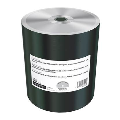 MediaRange Professional Line CD-R 700MB|80min 52x speed, silver, unprinted/blank, wide sputtered, Shrink 100 (MRPL508-C)