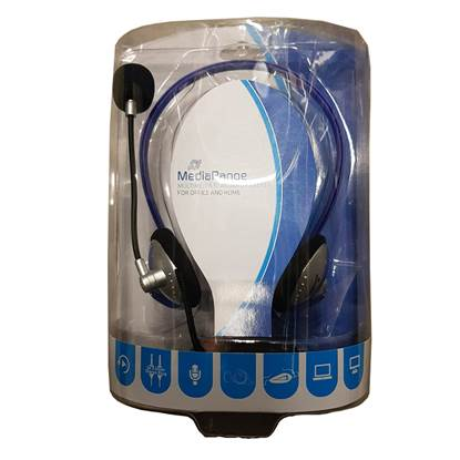MediaRange PC Neck Headset (Blue/Silver, Wired) (MROS302)