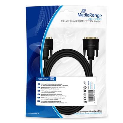 Καλώδιο MediaRange DVI monitor connection, digital dual link, DVI plug (24+1)/DVI plug (24+1), 2.0m, black (MRCS129)