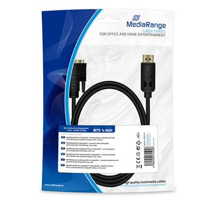 Καλώδιο MediaRange DVI to DisplayPort™ connection, gold-plated, DVI-D socket (24+1 Pin)/DP plug, 2.0m, black (MRCS131)
