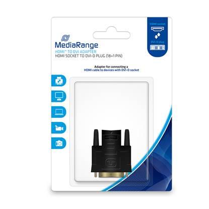 MediaRange HDMI™ to DVI adapter, gold-plated, HDMI socket/DVI-D plug (18+1 Pin), black (MRCS170)