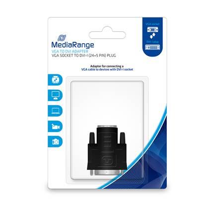 MediaRange VGA to DVI adapter, gold-plated, VGA socket/DVI-I plug (24+5 Pin), black (MRCS172)