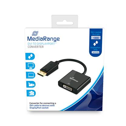 MediaRange DVI to DisplayPort™ converter, gold-plated, DVI-I socket (24+5 Pin)/DP plug, 15cm, black (MRCS174)