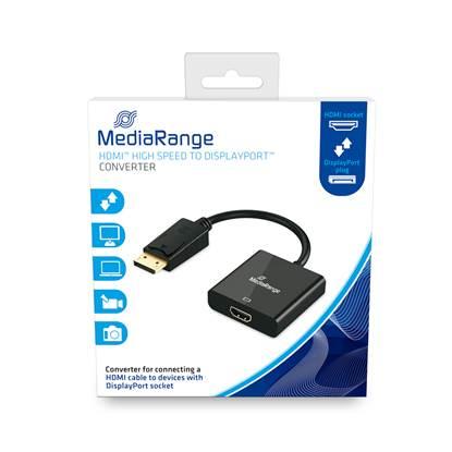 MediaRange HDMI™ High Speed to DisplayPort™ converter, gold-plated, HDMI socket/DP plug, 18 Gbit/s data transfer rate, 20cm, black (MRCS177)