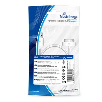 Καλώδιο MediaRange Charge and sync, USB 2.0 to Apple Dock® (30-pin) plug, 1.0m, white (MRCS181)