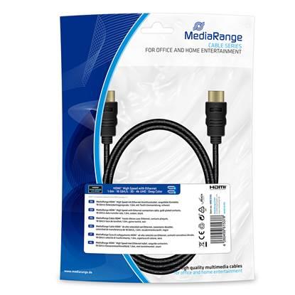 Καλώδιο MediaRange HDMI™ High Speed with Ethernet connection, gold-plated contacts, 18 Gbit/s data transfer rate, 1.0m, cotton, black (MRCS195)