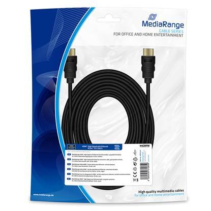 Καλώδιο MediaRange HDMI™ High Speed with Ethernet connection cable, gold-plated contacts, 10.2 Gbit/s data transfer rate, 10.0m, black (MRCS212)