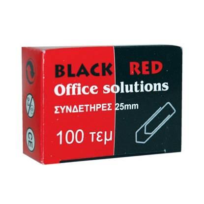 Συνδετήρες Μεταλλικοί BLACK-RED No 3 (Ασημί) (100 Τεμάχια) (BR301003)