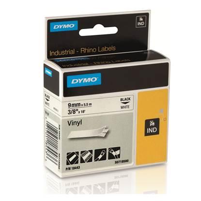 Ταινία Ετικετογράφου DYMO Vinyl (Μαύρα Γράμματα σε λευκό Φόντο) (S0718580) (DYMO18443)