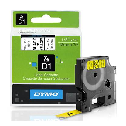 Ταινία Ετικετογράφου DYMO D1 (Μαύρα Γράμματα σε Κίτρινο Φόντο) (S0720580) (DYMO45018)