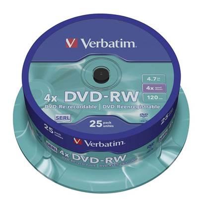 Verbatim DVD-RW 120' 4.7GB 4x Cake Box x25 (43639)