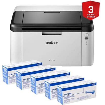 BROTHER HL-1210W Mono Laser Printer +5 toners TN-1050 (BROHL1210WCONS) (HL1210WCONS)